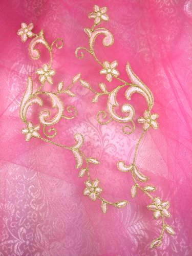 GB90 Embroidered Applique Pink Gold Flower Mirror Pair Vine Iron On 9""