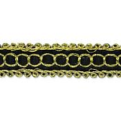 E7026 Black Gold Woven Braid Sewing Craft Trim 1/2""