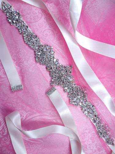 JB232 Bridal Sash Silver Crystal Clear Glass Rhinestone White Ribbon  13.75""