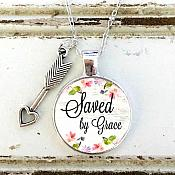 "Scripture Pendant ""Saved by Grace"" Inspirational Necklace Christian Jewelry w/ Silver Chain JW226"