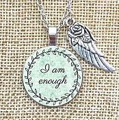"Inspirational Pendant ""I am Enough"" Wing Charm Necklace Jewelry w/ Silver Chain JW227"