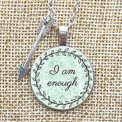 "Inspirational Pendant ""I am Enough"" Arrow Charm Necklace Jewelry w/ Silver Chain JW228"