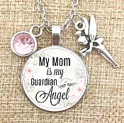 Necklace Pendant My Mom is my Guardian Angel Inspirational Jewelry w/ Silver Chain JW240