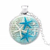 Starfish Pendant Necklace Ocean Blue Silver Jewelry JW317