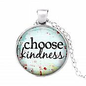Choose Kindness Pendant Necklace Inspirational Motivational Quotes Silver Jewelry JW318