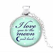 I Love You To The Moon And Back Pendant Necklace Inspirational Motivational Quotes Silver Jewelry JW319