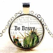 Be Brave Pendant Necklace Inspirational Motivational Quotes Silver Jewelry JW320