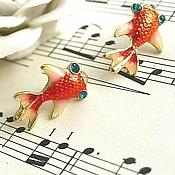 Goldfish Earrings Metal Rhinestone Eyes Cute Costume Jewelry JW72