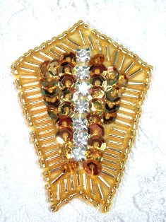 """0482 Gold Rhinestone 2.25"""" Sequin Beaded Applique"""