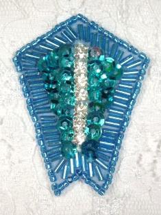 """0482 Turquoise Rhinestone 2.25"""" Sequin Beaded Applique"""