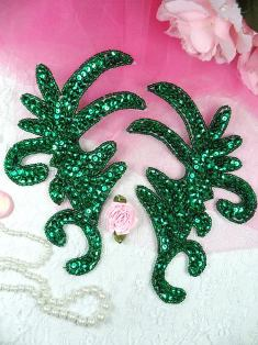 """K8101 Green Mirror Pair Claw Beaded Sequin Appliques 6.75"""""""