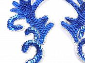 "Blue Silver Claw Mirror Pair  6.75"" Sequin Beaded Appliques K8101X"