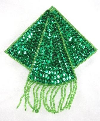 "K8401  Green Triangle Epaulet Sequin Beaded Applique  5.25"""