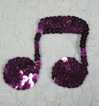 "k8614  Purple Wine Musical Note Sequin Applique 3"""