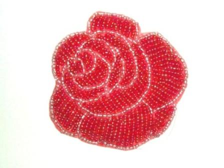 "K8740  Red  Rose  Beaded Applique  3"""