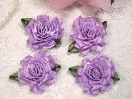 "L22  Lot of 4 Lavender Floral Rose Flower Appliques 1.5"""