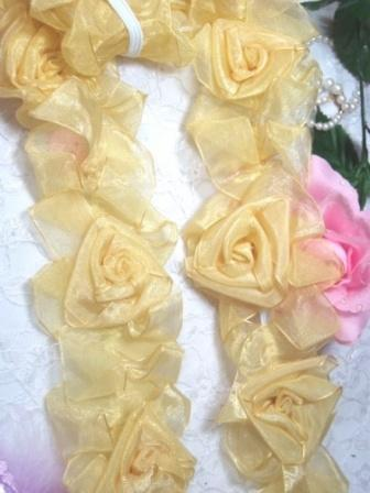 """L28  Butter Yellow Organza Floral Sewing Trim 2.5"""""""