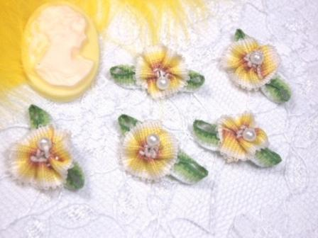 L40 Set of 5  Yellow Ombre Rose Pearl Orchid Applique