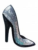 "High Heeled Shoe Applique Sequin Silver Iron On Patch 5.5"" GB702-sl"