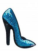 "High Heeled Shoe Applique Sequin Turquoise Iron On Patch 5.5"" GB702-sl"