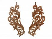 "Embroidered Appliques Brown Scroll Design Mirror Pair Motifs Patch 9"" (GB490X)"