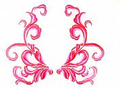 "Fuschia Red Embroidered Appliques Dance Costume Mirror Pairs 11"" GB289X"