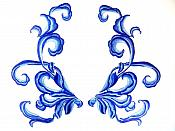 """Blue Embroidered Appliques Dance Costume Mirror Pairs 11"""" GB289X"""