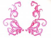 """Pink Fuschia Embroidered Appliques Dance Costume Mirror Pairs 11"""" GB289X"""