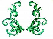 """Green Embroidered Appliques Dance Costume Mirror Pairs 11"""" GB289X"""