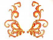 """Orange Red Embroidered Flame Appliques Dance Costume Mirror Pairs 11"""" GB289X"""