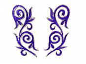 """Embroidered Applique Mirror Pair Purple Gold Metallic Iron On Patch 5.25"""" GB120X"""