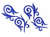 "Embroidered Applique Mirror Pair Blue Silver Metallic Iron On Patch 5.25"" GB120X"
