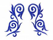 """Embroidered Applique Mirror Pair Blue Silver Metallic Iron On Patch 5.25"""" GB120X"""