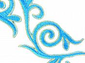 """Embroidered Applique Mirror Pair Turquoise Gold Metallic Iron On Patch 5.25"""" GB120X"""
