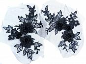 "3D Embroidered Lace Appliques Black Floral Venice Lace Mirror Pair 7.5""  BL133X"