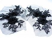 "3D Embroidered Lace Appliques Black Floral Venice Lace Mirror Pair 7.5""  BL133X"
