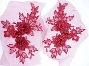"3D Embroidered Lace Appliques Brick Red Floral Venice Lace Mirror Pair 7.5""  BL133X"