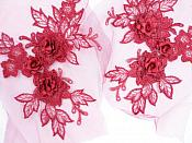"""3D Embroidered Lace Appliques Brick Red Floral Venice Lace Mirror Pair 7.5""""  BL133X"""