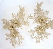 "3D Embroidered Lace Appliques Champagne Floral Venice Lace Mirror Pair 7.5""  BL133X"