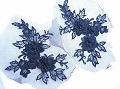 "3D Embroidered Lace Appliques Navy Floral Venice Lace Mirror Pair 7.5""  BL140X"