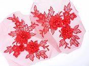 "3D Embroidered Lace Appliques Red Floral Venice Lace Mirror Pair 7.5""  BL140X"