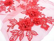 """3D Embroidered Lace Appliques Red Floral Venice Lace Mirror Pair 7.5""""  BL133X"""