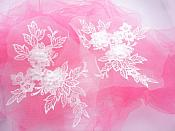 "3D Embroidered Lace Appliques White Floral Venice Lace Mirror Pair 7.5""  BL140X"