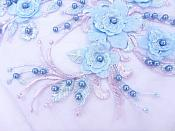 Floral Applique Three Dimensional Embroidered Lace Shiny Lavender Lt. Blue Sewing Patch 13 inches BL138