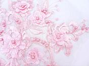 Floral Applique Three Dimensional Embroidered Lace Shiny Pink Sewing Patch 13 inches BL138