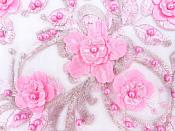 Floral Applique Three Dimensional Embroidered Lace Shiny Pink Beige Sewing Patch 13 inches BL138