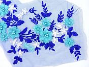 Floral Applique Three Dimensional Embroidered Lace Blue Turquoise White Sewing Patch 14.5 inches BL142