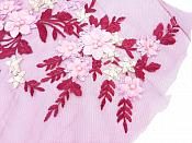 Floral Applique Three Dimensional Embroidered Lace Burgundy Pink Yellow Sewing Patch 14.5 inches BL142