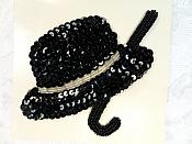 LC1640 Hat and Cane Applique Sequins w/ beads Black Dance Costume Patch 5""