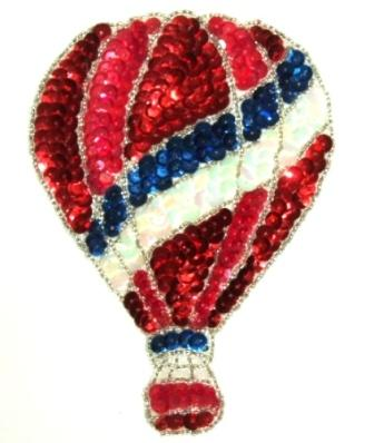 """LC249  Red Hot Air Balloon Sequin Beaded Applique 6"""""""